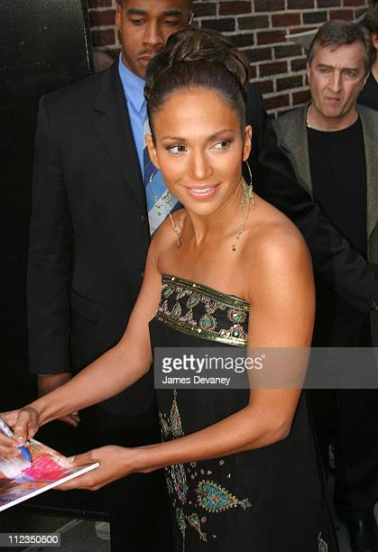 """Jennifer Lopez during Jennifer Lopez Visits the """"Late Show with David Letterman"""" - May 22, 2002 at Ed Sullivan Theater in New York City, New York,..."""