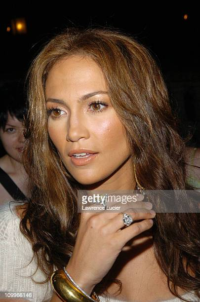 Jennifer Lopez during Olympus Fashion Week Spring 2005 Tommy Hilfiger Arrivals and Departures at Theater Tent Bryant Park in New York City New York...