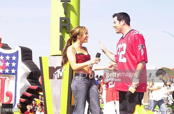 Jennifer Lopez during Super Bowl TRL 2001