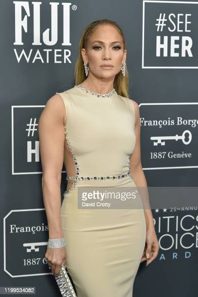 Jennifer Lopez during the arrivals for the 25th Annual Critics' Choice Awards at Barker Hangar on January 12, 2020 in Santa Monica, CA.