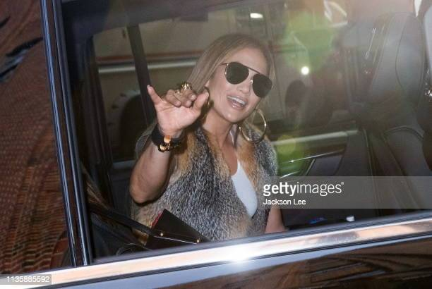 Jennifer Lopez flashes a wave when arriving at Z100 studios on April 9, 2019 in New York City.
