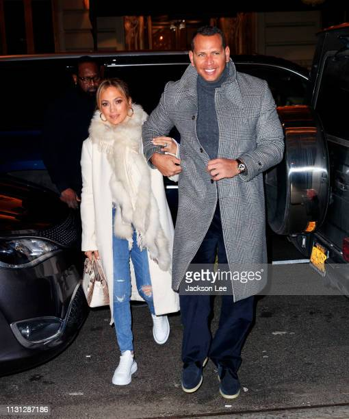 Jennifer Lopez flashes her big engagement ring when out for dinner with Alex Rodriguez on March 17 2019 in New York City
