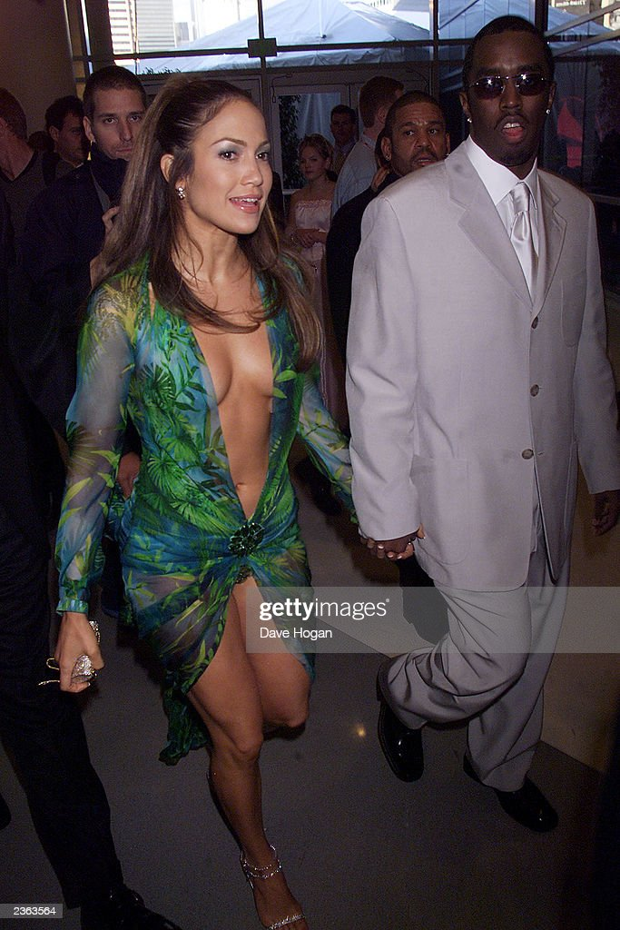 Jennifer Lopez in Versace and Puff Daddy at the 2000 Grammy Awards held in Los Angeles, CA on February 24, 2000 Photo by Dave Hogan/Getty Images