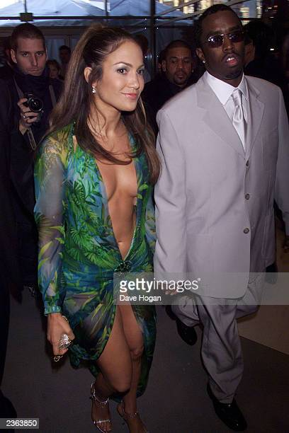 Jennifer Lopez in Versace and Puff Daddy at the 2000 Grammy Awards held in Los Angeles CA on February 24 2000 Photo by Dave Hogan/Getty Images