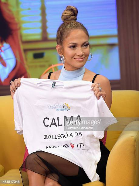 Jennifer Lopez is on the set of Despierta America to promote film 'The Boy Next Door'at Univision Headquarters on January 13 2015 in Miami Florida