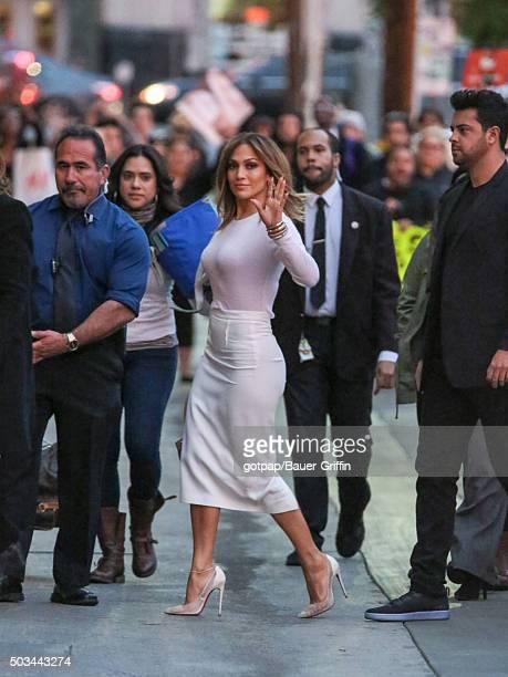 Jennifer Lopez is seen arriving at 'Jimmy Kimmel Live' on January 04 2016 in Los Angeles California