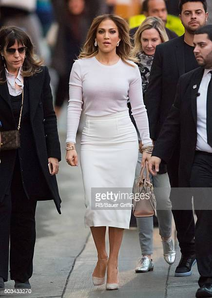 Jennifer Lopez is seen at 'Jimmy Kimmel Live' on January 04 2016 in Los Angeles California