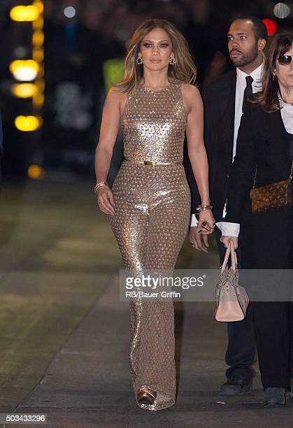Jennifer Lopez is seen at 'Jimmy Kimmel Live' on January 04, 2016 in Los Angeles, California.