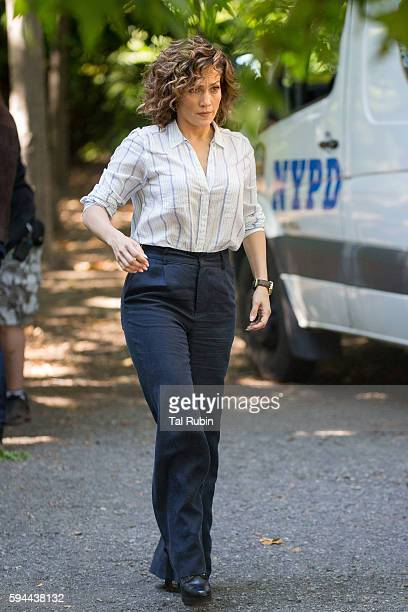 Jennifer Lopez is seen at the film set of Shades of Blue in Prospect Park on August 23 2016 in New York City