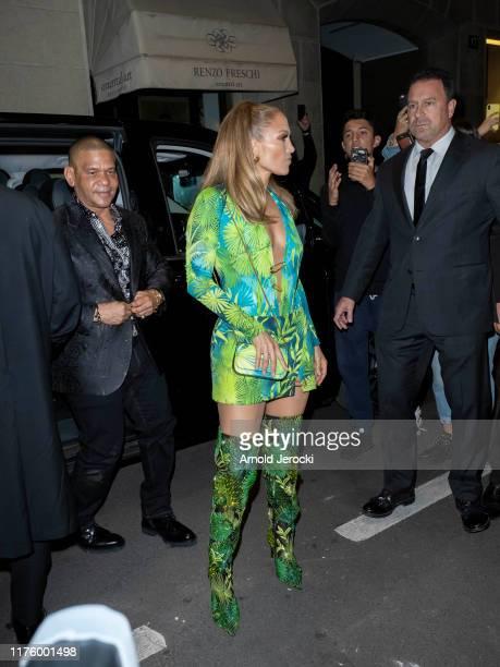 Jennifer Lopez is seen during the Milan Fashion Week Spring/Summer 2020 on September 20 2019 in Milan Italy
