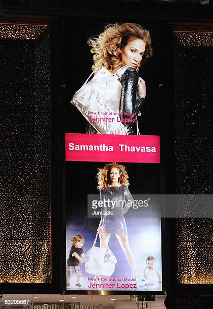 Jennifer Lopez is seen in a billboard advertising campaign for Samantha Thavasa on October 9 2008 in Tokyo Japan