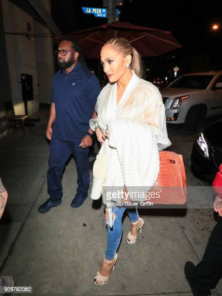 Jennifer Lopez is seen on March 08 2018 in Los Angeles California