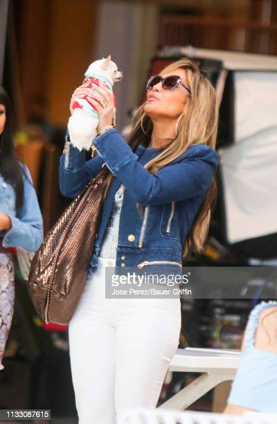 Jennifer Lopez is seen on movie set of the 'Hustlers' on March 26 2019 in New York City