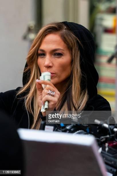 Jennifer Lopez is seen on set for 'Hustlers' in SoHo on March 29 2019 in New York City