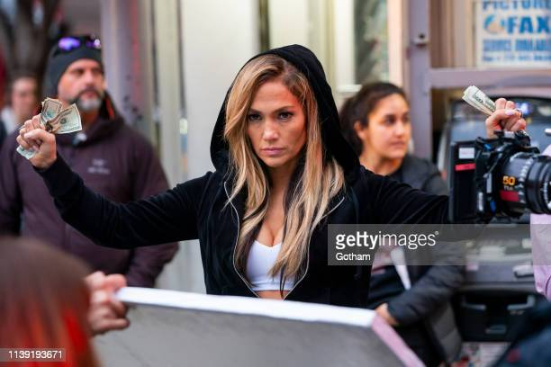 Jennifer Lopez is seen on set for 'Hustlers' in SoHo on March 29 2019 in New York City