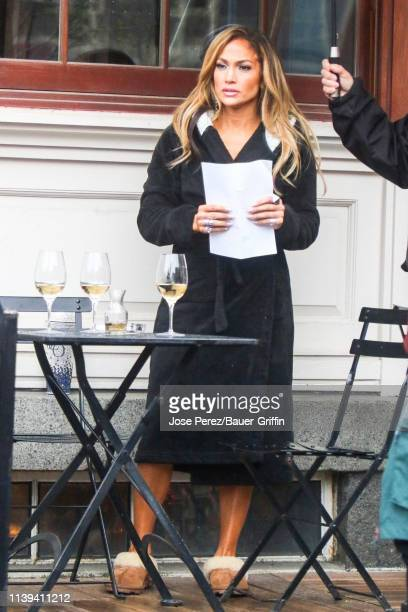 Jennifer Lopez is seen on the film set of 'Hustlers' on April 25 2019 in New York City