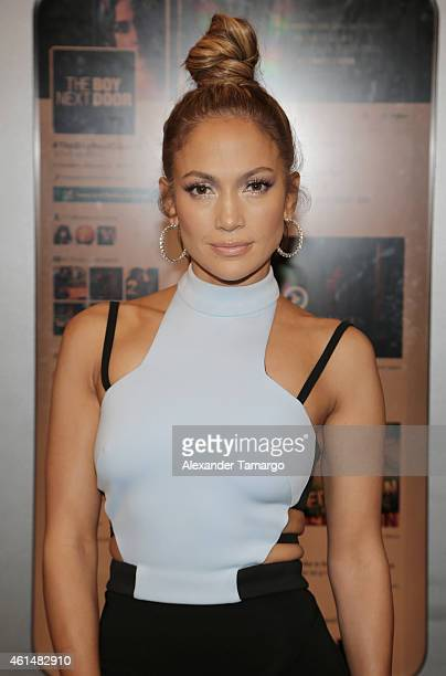 Jennifer Lopez is seen on the set of Despierta America to promote film 'The Boy Next Door'at Univision Headquarters on January 13 2015 in Miami...