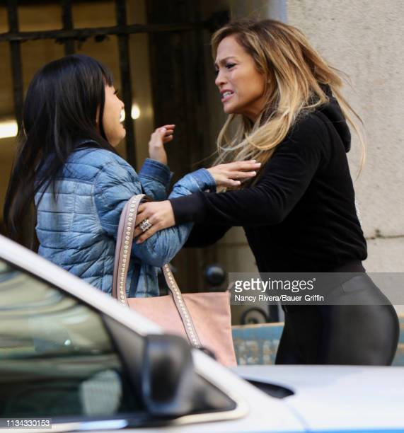 Jennifer Lopez is seen on the st of the 'Hustlers' on April 01 2019 in New York City
