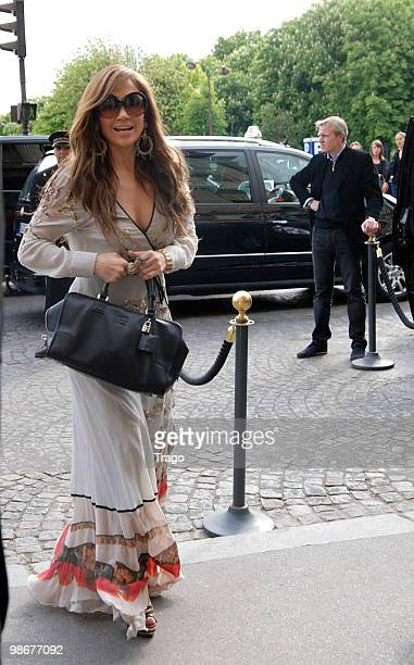 Jennifer Lopez is sighted as she arrives at Hotel Crillon on April 26 2010 in Paris France
