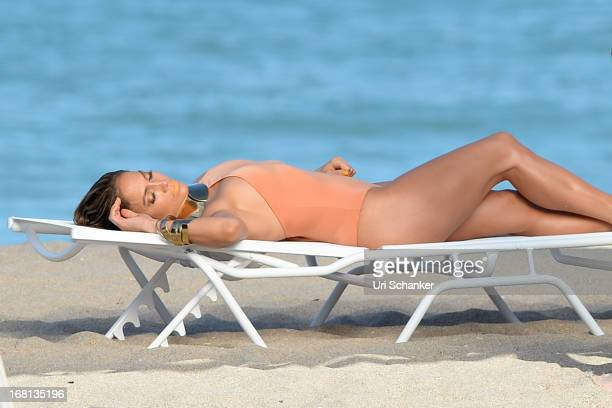 Jennifer Lopez is sighted as she films a commercial on the beach on May 5 2013 in Fort Lauderdale Florida
