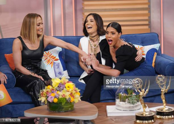 Jennifer Lopez Karla Martinez and Francisca Lachapel are seen on the set of Despierta America at Univision Studios to promote the film Hustlers on...