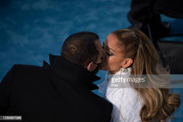 Jennifer Lopez kisses fiancé Alex Rodriguez after performing during the inauguration of U.S. President-elect Joe Biden on the West Front of the U.S....