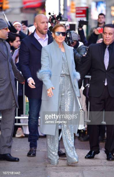 Jennifer Lopez leaves ABC's 'Good Morning America' in Times Square on December 12 2018 in New York City