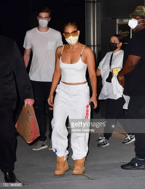 Jennifer Lopez leaves Hudson Yards after filming a music video with Maluma on August 9 2020 in New York City