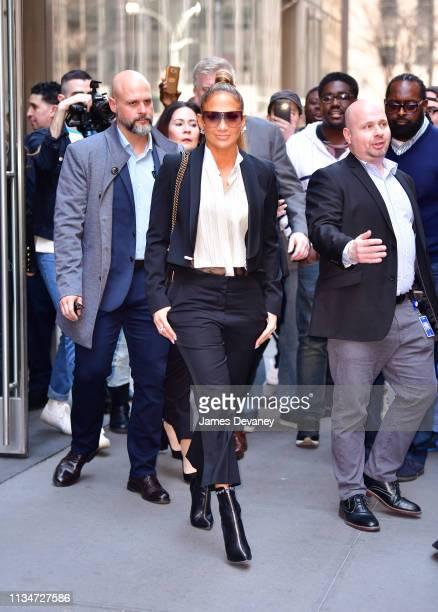 Jennifer Lopez leaves SiriusXM Studios on April 3, 2019 in New York City.
