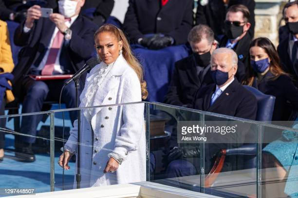 Jennifer Lopez looks on during the inauguration of U.S. President-elect Joe Biden on the West Front of the U.S. Capitol on January 20, 2021 in...