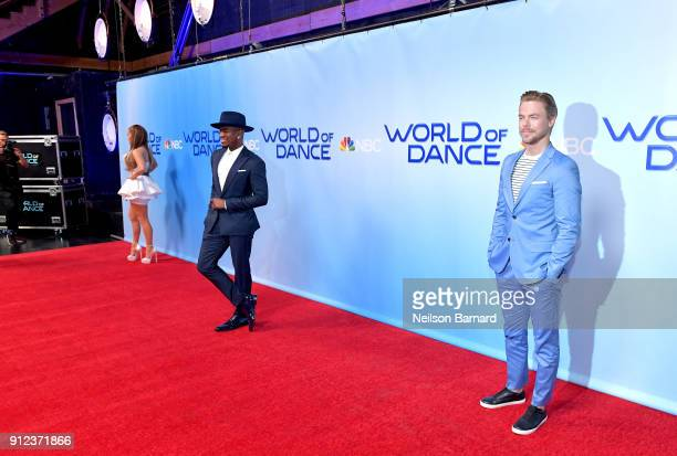 Jennifer Lopez NeYo and Derek Hough attend a photo op for NBC's 'World Of Dance' at NBC Universal Lot on January 30 2018 in Universal City California