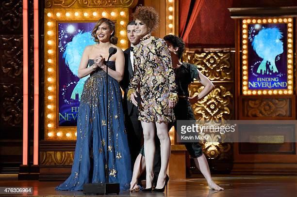 Jennifer Lopez Nick Jonas and Kiesza speak onstage at the 2015 Tony Awards at Radio City Music Hall on June 7 2015 in New York City