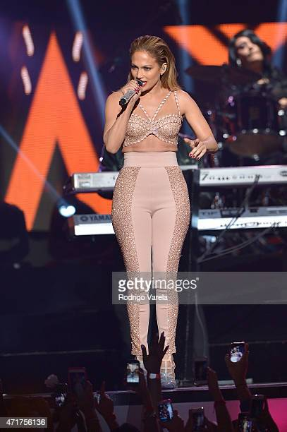 Jennifer Lopez performs a musical tribute to Selena onstage at the 2015 Billboard Latin Music Awards presented bu State Farm on Telemundo at Bank...