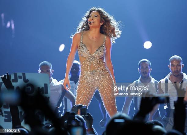 Jennifer Lopez performs at AmericanAirlines Arena on August 31, 2012 in Miami, Florida.