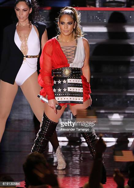 Jennifer Lopez performs at the Jennifer Lopez Gets Loud for Hillary Clinton at GOTV Concert in Miami at Bayfront Park Amphitheatre on October 29 2016...
