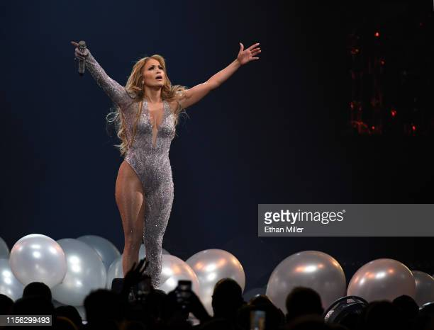 Jennifer Lopez performs during a stop of her It's My Party tour at TMobile Arena on June 15 2019 in Las Vegas Nevada
