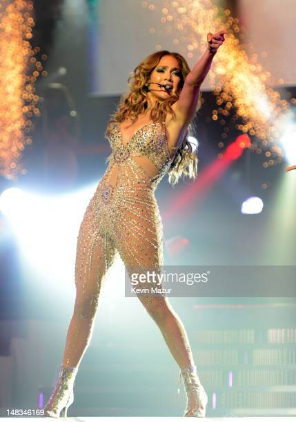 Jennifer Lopez performs during her coheadlining tour with Enrique Iglesias at at Bell Centre on July 14 2012 in Montreal Canada