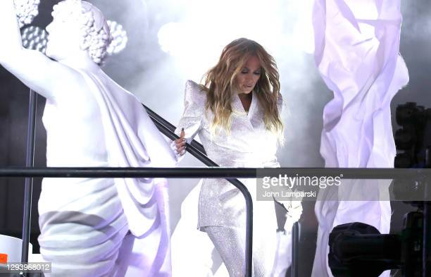 Jennifer Lopez performs during New Year's Eve in Times Square on December 31, 2020 in New York City.