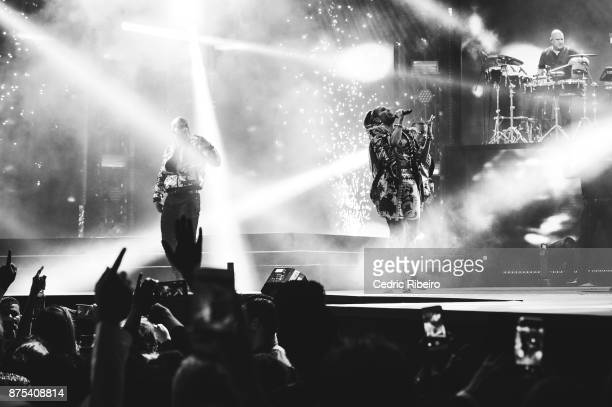 Image converted to black and white NOVEMBER 15 Jennifer Lopez performs during the Dubai International Airshow Gala Dinner at Atlantis The Palm on...