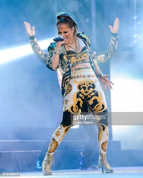 Jennifer Lopez performs during the Dubai International Airshow Gala Dinner at Atlantis The Palm on November 15 2017 in Dubai United Arab Emirates