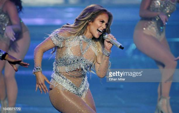 Jennifer Lopez performs during the finale of her residency JENNIFER LOPEZ ALL I HAVE at Zappos Theater at Planet Hollywood Resort Casino on September...