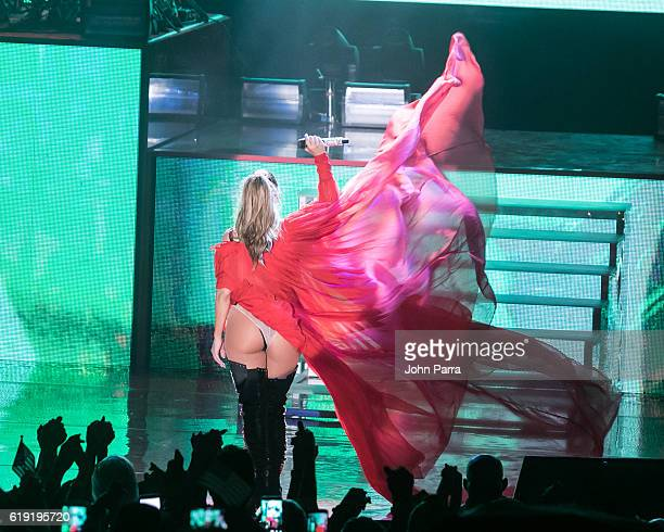 Jennifer Lopez performs during the Get Loud for Hillary Clinton at GOTV Concert in Miami at Bayfront Park Amphitheatre on October 29 2016 in Miami...