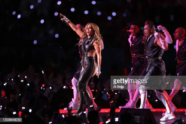 Jennifer Lopez performs during the Pepsi Super Bowl LIV Halftime Show at Hard Rock Stadium on February 02, 2020 in Miami, Florida.