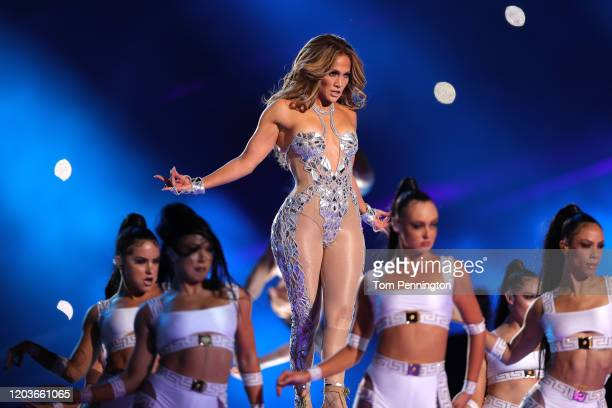 Jennifer Lopez performs during the Pepsi Super Bowl LIV Halftime Show at Hard Rock Stadium on February 02 2020 in Miami Florida