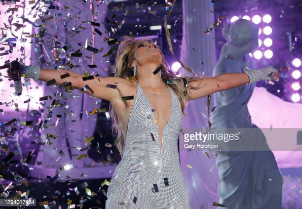 Jennifer Lopez performs in Times Square on New Year's Eve on December 31, 2020 in New York City.