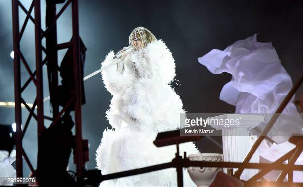 Jennifer Lopez performs live from Times Square during 2021 New Year's Eve celebrations on December 31, 2020 in New York City.