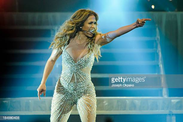 Jennifer Lopez performs on the London Leg of 'The Dance Again' world tour at 02 Arena on October 22 2012 in London England