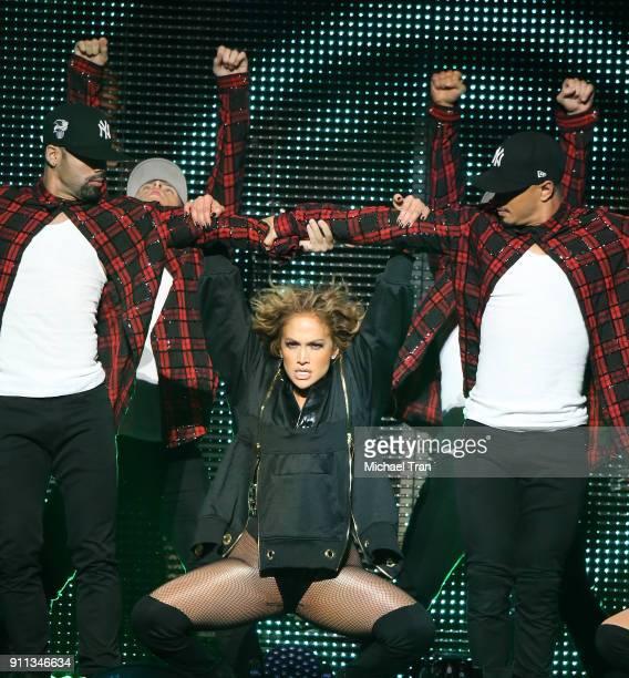 Jennifer Lopez performs onstage during Calibash Las Vegas at TMobile Arena on January 27 2018 in Las Vegas Nevada