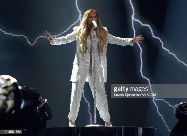 Jennifer Lopez performs onstage during the 2018 American Music Awards at Microsoft Theater on October 9 2018 in Los Angeles California
