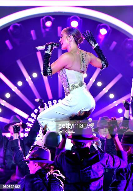 Jennifer Lopez performs onstage during the 2018 Billboard Music Awards at MGM Grand Garden Arena on May 20 2018 in Las Vegas Nevada